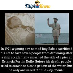 roy babas boy scout hero of iloilo Boy Names, Young Boys, Boy Scouts, Getting Out, Trivia, Philippines, Death, Hero, Facts