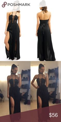 300K SALE▫️SATIN LONG SPLIT PANTS Black satin  Long Pants Two-front slip cuts 100% Polyester Waist tie-string. PRICE FIRM.  Bodysuit top is sold separately. Model is wearing a size small. All pictures taken exclusively for Style Link Miami. Style Link Miami Pants