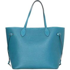 Preowned Louis Vuitton Cyan Neverfull Mm Tote Bag W/ Insert Shw Rt. ($1,750) ❤ liked on Polyvore featuring bags, handbags, tote bags, blue, louis vuitton pouch, blue tote bag, tote handbags, teal tote bag and louis vuitton tote bag