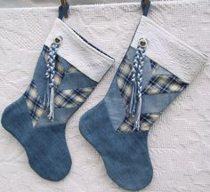 Denim Christmas Stockings Holiday Decor Handmade Stocking Set of Two 15 quot X 11 quot X 9 quot Country Christmas Stocking Southwestern Decor Christmas Sewing, Blue Christmas, Country Christmas, Christmas Projects, Christmas Mantles, Victorian Christmas, Handmade Christmas, Vintage Christmas, Christmas Decorations