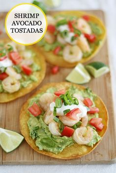 Shrimp Avocado Tostadas -- crispy tortillas topped with guacamole ...