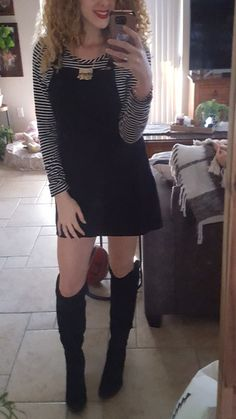 Winter Date Night Outfits, Winter Dress Outfits, Chic Outfits, Fashion Outfits, Outfit Winter, Overalls Fashion, Overalls Outfit, Overall Dress, Dress With Boots