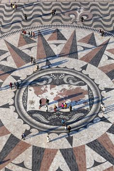 Giant world map made out of tiles.  Lisboa, Portugal. As seen on the amazing race!