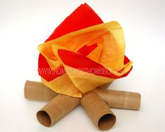 TABLE DECOR - recycling paper for kids: toilet paper tube mini- campfires - crafts ideas - crafts for kids Tissue Paper Crafts, Toilet Paper Roll Crafts, Paper Crafts For Kids, Paper Fire, Card In A Box, Campfire Fun, Western Parties, Camping Parties, Camping Theme