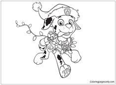 Paw Patrol Marshall Christmas Coloring Page - Free Coloring Pages Online Kids Christmas Coloring Pages, New Year Coloring Pages, Cute Coloring Pages, Cartoon Coloring Pages, Animal Coloring Pages, Coloring Pages To Print, Printable Coloring Pages, Free Coloring, Paw Patrol Marshall