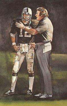 Oakland Raiders Quarterback Kenny Stabler & Head Coach John Madden portrait by Merv Corning Pro Football Journal Presents: NFL Art Raiders Players, Nfl Raiders, Raiders Stuff, Raiders Baby, Nfl Football Players, Football Art, Vintage Football, Sport Football, American Football