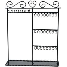 Conveniently organize and display your assorted jewelry with this stylish jewelry rack. Constructed of sturdy metal with a black shiny finish, it offers plenty of space for hanging earrings, necklaces Jewelry Organizer Drawer, Jewelry Drawer, Jewelry Rack, Jewelry Armoire, Jewellery Storage, Jewellery Display, Jewelry Organization, Metal Jewelry, Custom Jewelry