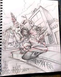 Graffiti Drawing, Cool Art Drawings, Street Art Graffiti, Art Sketches, Arte Cholo, Cholo Art, Graffiti Cartoons, Graffiti Characters, Chicano Drawings