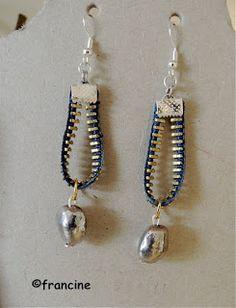 jewelry beading tips Zipper Jewelry, Punk Jewelry, Jewelry For Her, Fabric Jewelry, Jewelry Art, Jewelry Ideas, Denim Earrings, Leather Earrings, Beaded Earrings