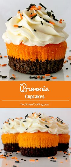 Brownie Cupcakes - brownies plus cake plus frosting in one unique and delicious Cupcake. These special cupcakes are easy to make and taste as amazing as they look! Your family, friends and party guests will be impressed when you serve this super yummy two-in-one dessert. Follow us for more fun Dessert Ideas.
