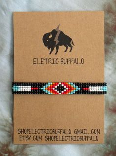 Black & Turquoise Beaded Bracelet by ShopElectricBuffalo on Etsy Native Beading Patterns, Native Beadwork, Seed Bead Patterns, Loom Bracelet Patterns, Bead Loom Bracelets, Beaded Hat Bands, Bead Loom Designs, Loom Beading, Bead Weaving
