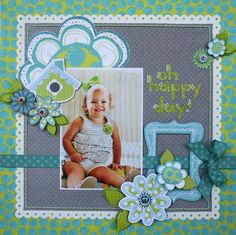 Oh Happy Day ** New Bo Bunny** - Scrapbook.com-1 photo-love colors & 8 or more flowers ribbon EDGE-white/grey background