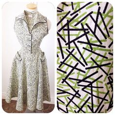 AMAZING Vintage 1950s Atomic print cotton dress with by hipsmcgee, $115.00