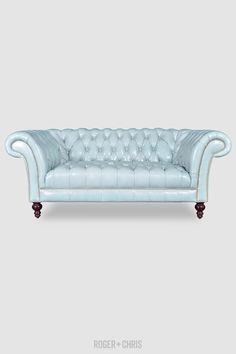 Lucille Sofas and Armchairs Blue Leather Sofa, An American In Paris, Blue Furniture, Chesterfield Sofa, Love Blue, Quality Furniture, Blue Velvet, Love Seat, Blue Sofas