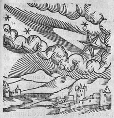 Stock Photo - Comet of 1546 (Halley). At this appearance the comet was excommunicated by Pope Calixtus III. From Conrad Lycosthenes 'Prodigioum ac ostentorum chronicon' Basle Woodcut Green Children Of Woolpit, Halley's Comet, Wellcome Collection, 17th Century Art, Viking Jewelry, Ancient Jewelry, Source Of Inspiration, Ciel, Science Fiction