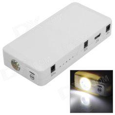Charging input: 100~240V 50/60Hz; Output: 15V 1A; Car charger input: 12~15V; Output: 15V 800mA; Output voltage car start; 12V; USB output: 5V 2A; Charging method: CC /CV 15V 1A; Start current: 200A; Peak current: 400A 3s; Suitable for temperature range 0~85'C http://j.mp/1v2BRty