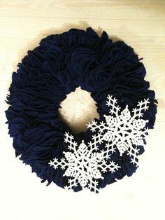 Blue Felt Wreath with Snowflakes