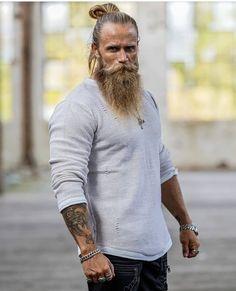 Bearded Tattooed Men, Bearded Men, Beard Styles For Men, Hair And Beard Styles, Badass Beard, Beard Logo, Vikings, Long Hair Beard, Hot Guys Tattoos