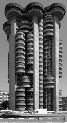 Las Torres Blancas es un edificio de viviendas del arquitecto Francisco Javier Sáenz de Oiza, situado en Madrid, diseñado en 1961 y construido entre 1964 y 1969.Oiza quiso hacer un edificio de viviendas singular, muy alto, que creciera orgánicamente, como un árbol o como un conjunto arbóreo, recorrido verticalmente por escaleras, ascensores e instalaciones, como si f