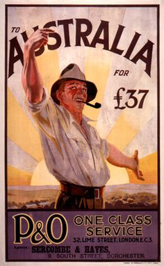 1930s To Australia by P&O vintage travel poster