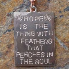 Hope Emily Dickinson Poetry Quote Vintage Brass Hand Stamped Necklace | jeanskipper - Jewelry on ArtFire