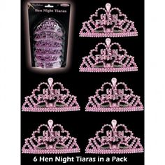 Mini Pink Hen Party Tiaras Hen Night accessories for the bride to be and her bridesmaids.Miniature sized pink comb tiaras for all the girls. Each tiara has a hen party logo. Order Quantity: 1 Pack of 6 Tiaras Hen Night Ideas, Hens Night, Hen Party Bags, Party Hats, Party Wholesale, Party Logo, Bachelorette Party Supplies, Mask Party, Party Accessories