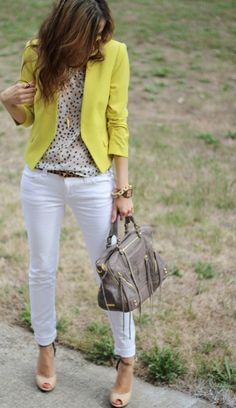 White pants, polka dot blouse, yellow blazer would love some white cropped boyfriend skinny jeans. i love this yellow blazer with patterned shirt underneath Fashion Mode, Work Fashion, Womens Fashion, Fashion Trends, Spring Fashion, Style Fashion, Fashion Check, Fashion Blogs, Fashion 2016