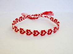 Red Heart Pattern Embroidery Macrame Friendship Bracelet by BraceletsByJen