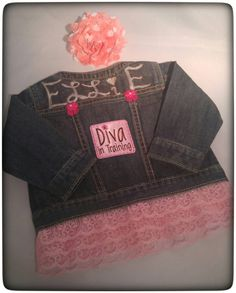Perfect Baby Shower Gift $29.99 https://www.etsy.com/listing/286314417/baby-jean-jacket-baby-shower-gift-diva