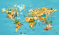 Vesa Sammalisto - series of map illustrations for Finnish tour operator Aurinkomatkat