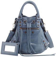 Balenciaga Classic Mini Pompon Bag, Bleu Persan| ≼❃≽ @kimludcom