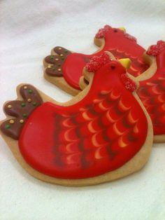Chicken sugar cookie party favors - sugarandflour.etsy.com