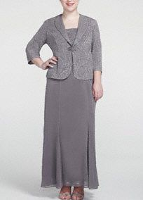 This elegant 3/4 sleeve jacket dress has been intricately design just for you!  Tank bodice features abeautiful and sparkling design.  Long flowy skirt adds movement and is very comfortable.  3/4 sleeve jacket dress features a glittering front rhinestone closure and also offers the perfect amount of coverage.  Fully lined. Back zip. Imported acetate/poly/spandex blend. Hand wash cold.