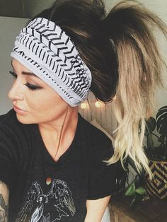 Rebel Gray Scrunch Headband Extra Wide Headband Extra Wide