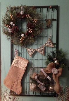 Shabby chic Christmas decor - baby bed spring