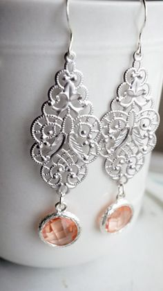 Earrings silver filigree and peach crystal by VerdigrisGifts
