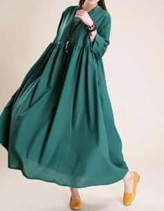 Simple atmospheric linen  Maxi dress women tunic Long by MaLieb, $99.00