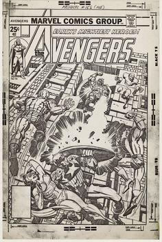 Full size photocopy of Jack Kirbys pencil art for the cover to Marvels Avengers 156 published date February 1977.