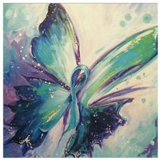 Ovarian Cancer Awareness ~ Painted Teal Ribbon Butterfly. # Ovarian Cancer Coalition of Charlotte