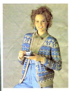 Hand knit blue willow jacket