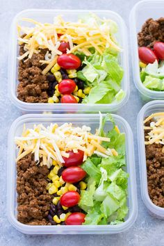 Meal Prep Taco Salad Lunch Bowls that you can make ahead! These easy taco salads are filled with taco beef, lettuce, cheese, black beans, corn and salsa!   www.kristineskitchenblog.com