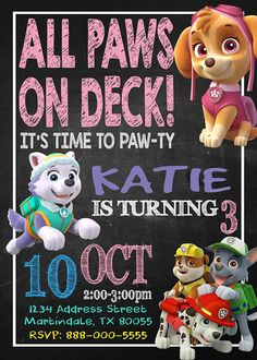 Invitations - Paw Patrol Invitation - Paw Patrol Birthday - Paw Patrol Invitations - Girls Party - Girl Paw Patrol - F34  >>>Second Image is Paw