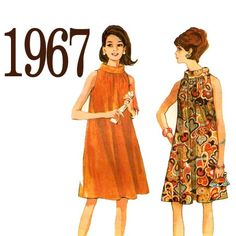 60s Adorable Trapeze Dress Vintage Sewing Pattern by ZipZapKap