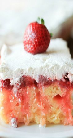 Strawberry Lemonade Poke Cake--1 box of Duncan Hines Yellow Cake mix  1/2 cup of oil  3 eggs  1 cup of lemonade  Zest of two lemons  1 10.5 oz jar of lemon curd  1 pound of fresh strawberries, sliced  Juice from one lemon  1/2 cup of granulated white sugar, divided  2 cups of heavy cream  1 teaspoon of pure vanilla extract