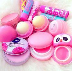make-up girl lip butter maybelline babylip bam pink Gloss Labial, Eos Lip Balm, Lip Balms, Baby Lips, Cute Makeup, Gorgeous Makeup, Lip Care, Pink Lips, Makeup Organization