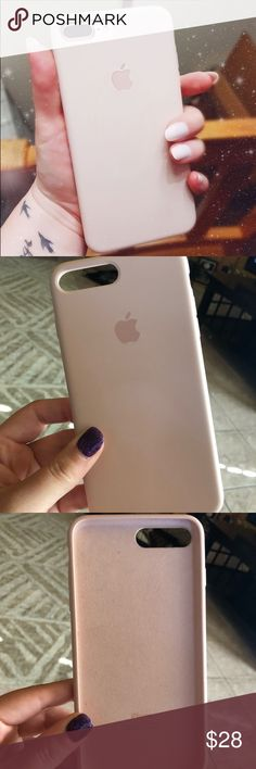 Pink Sand Apple silicone case iPhone 7/8PLUS Apple silicone case for an iPhone 7 & 8 plus. Color is pink sand. Purchased originally from Best Buy, retails for $40. Overall very good condition except for small peeling on left corner as shown in pictures. Doesn't affect the case from functioning as it should. Apple Accessories Phone Cases
