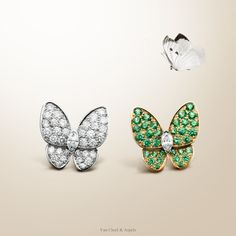 Two winged creatures – one in white gold and diamonds, the other in yellow gold and tsavorite garnets – form a pair of earrings of pastoral elegance. Find out more.