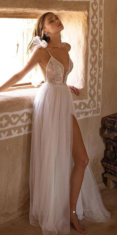 sexy wedding dresses ideas a line with sapghetti straps lace top with slit beach. sexy wedding dresses ideas a line with sapghetti straps lace top with slit beach asaf dadush bridal Lace Beach Wedding Dress, Sexy Wedding Dresses, Bridal Dresses, Wedding Gowns, Lace Dress, Lace Wedding, Wedding Cakes, Wedding Rings, Wedding Bride