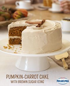 Pumpkin-Carrot Cake with Brown Sugar Icing is the perfect combination of fall flavours we know and love, and the easy cream cheese icing will become an instant favourite for all your fall baked goods. #recipe #dessert