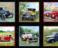 Vintage Cars Fabric Panel by Exclusively Quilters